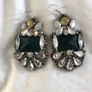 Statement Green Earrings with Swarovski Crystal